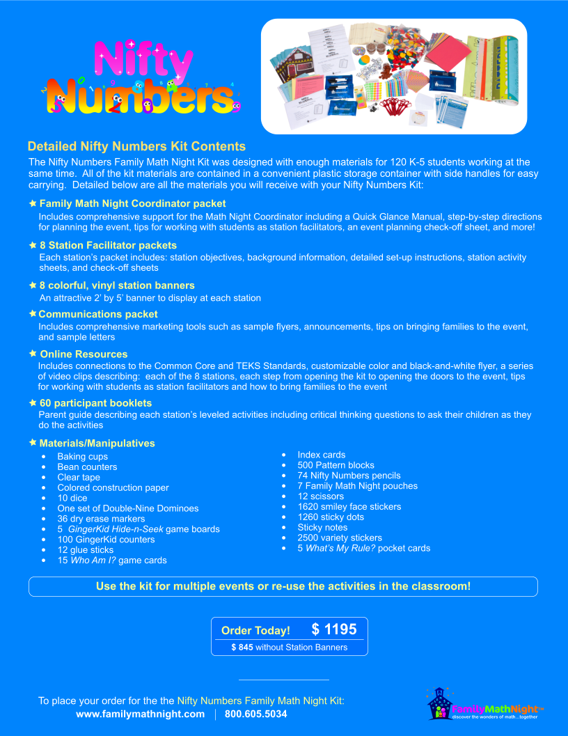 Nifty numbers family math night product sheet karyn 39 s blog for Nifty family