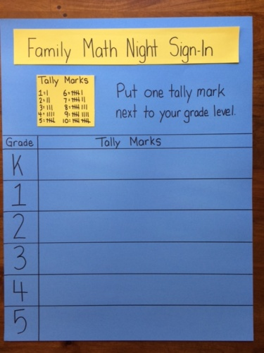 Family Math Night Sign-in Sheets